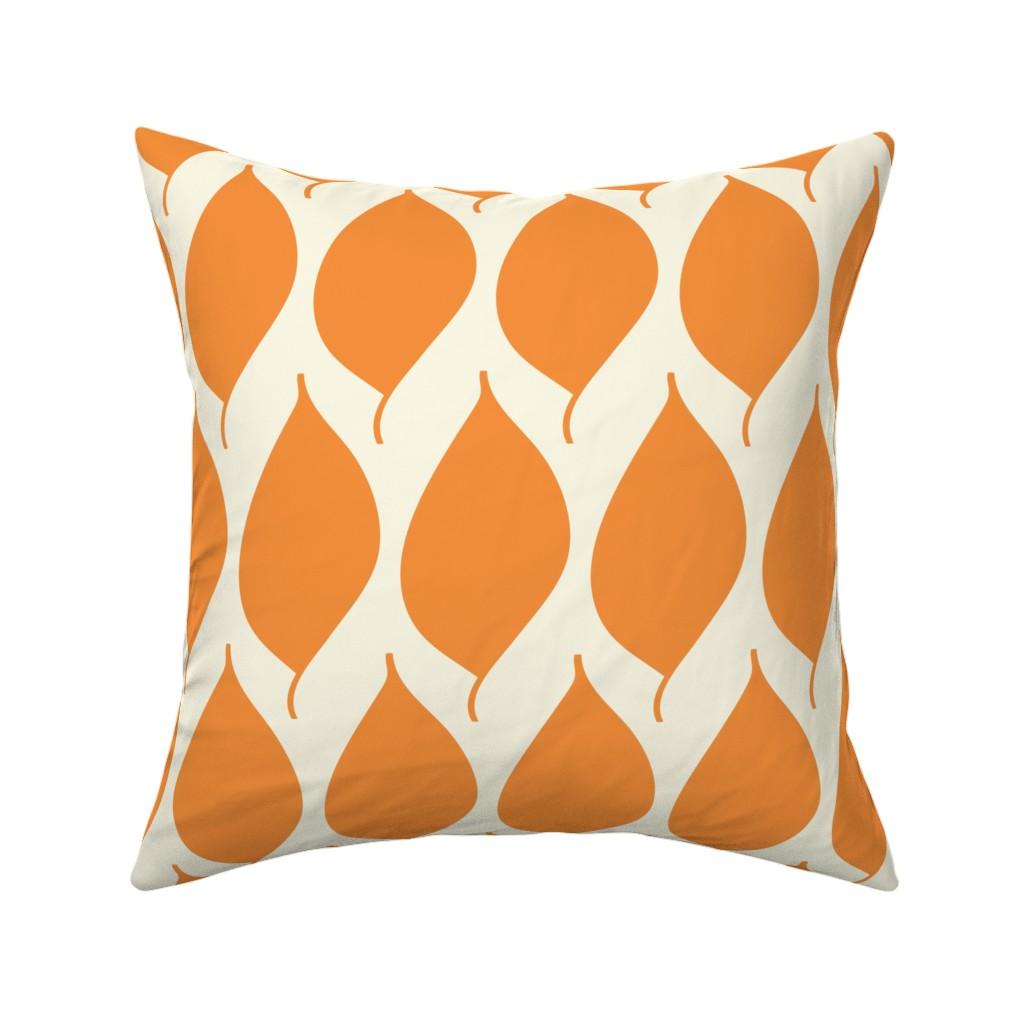 Catalan Throw Pillow featuring Retro Orange Leaf by studiojulieann