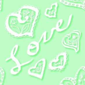 Love hearts shadow green