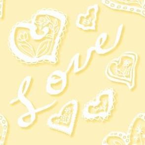 Love hearts shadow apricot