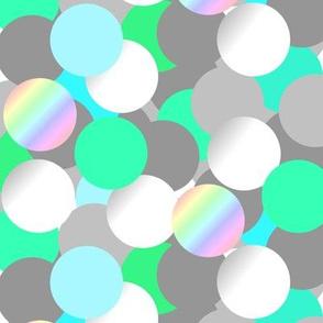 Bubbles grey green & pearl - Bulles gris vert & nacre