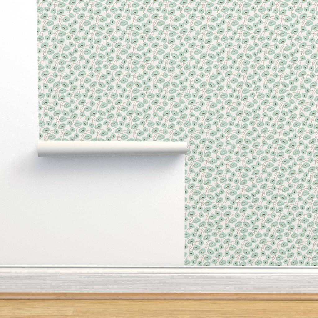 Isobar Durable Wallpaper featuring Poppy dance mint medium by cindylindgren