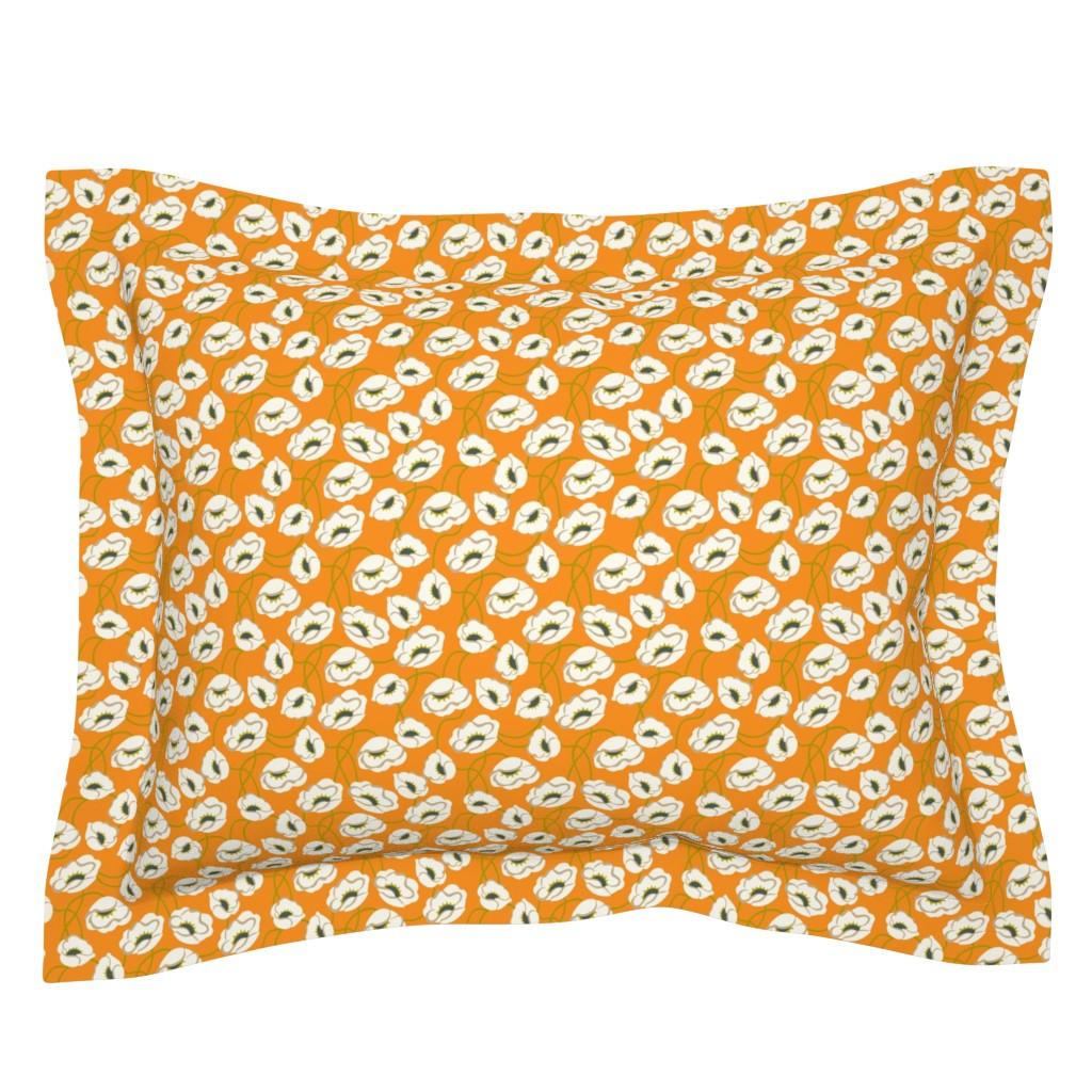 Sebright Pillow Sham featuring Poppy Dance Tangerine medium by cindylindgren