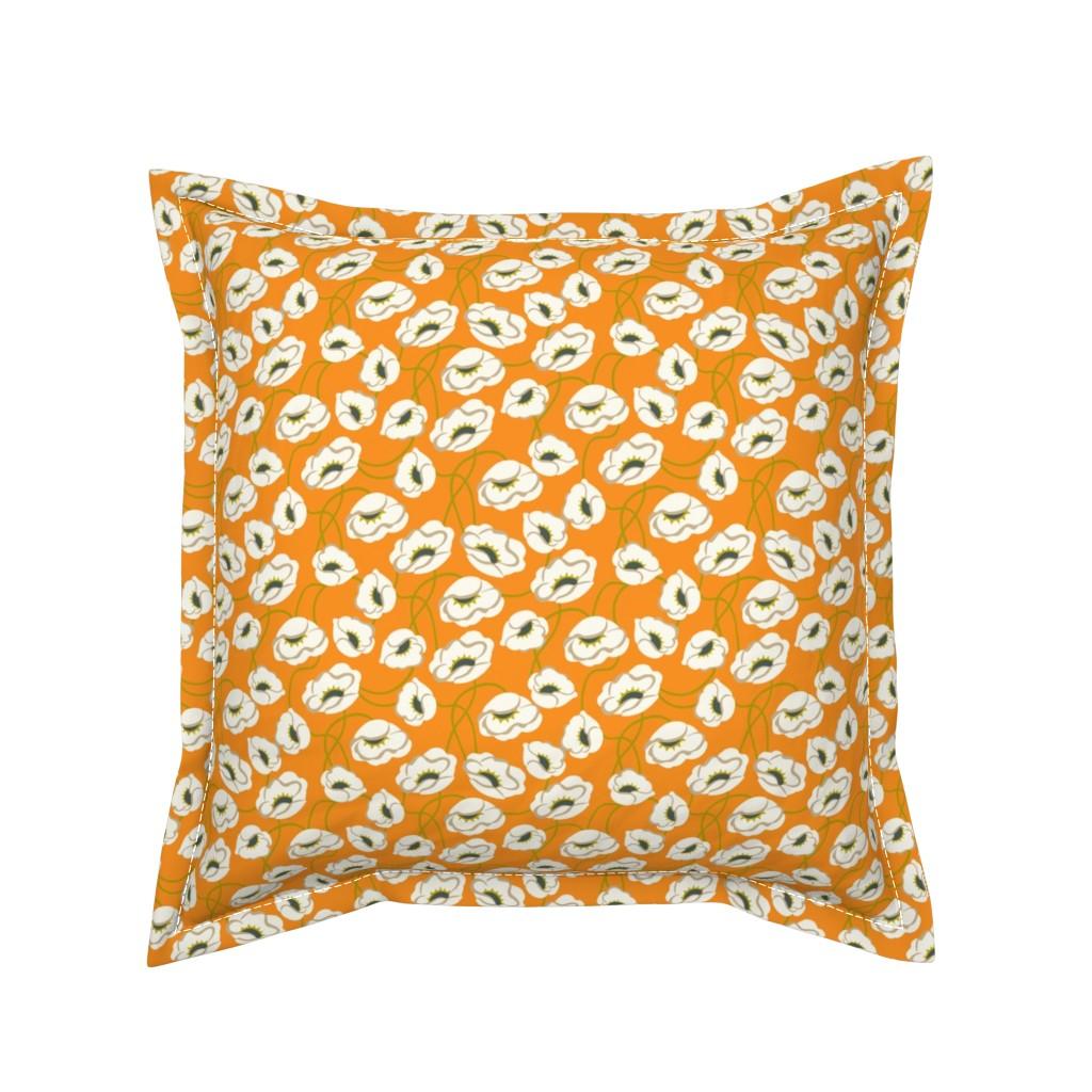 Serama Throw Pillow featuring Poppy Dance Tangerine medium by cindylindgren
