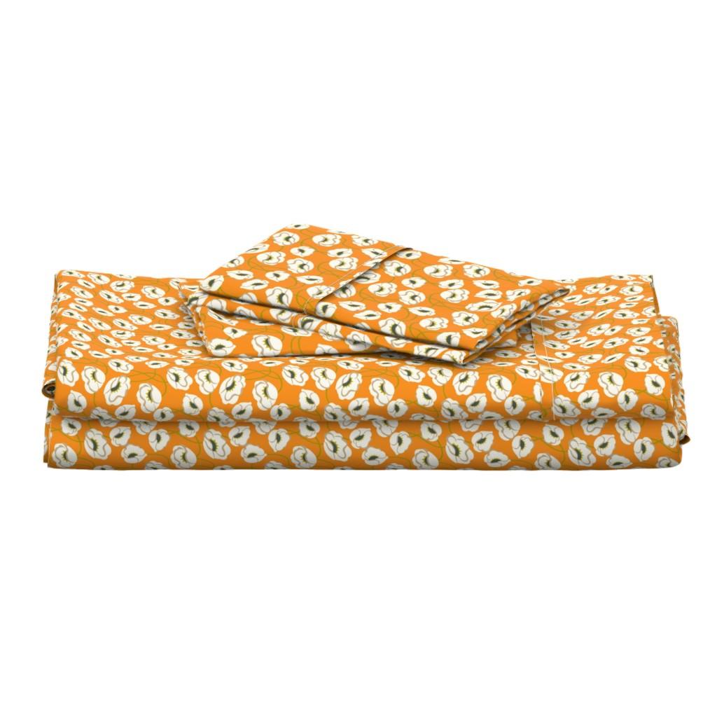 Langshan Full Bed Set featuring Poppy Dance Tangerine medium by cindylindgren