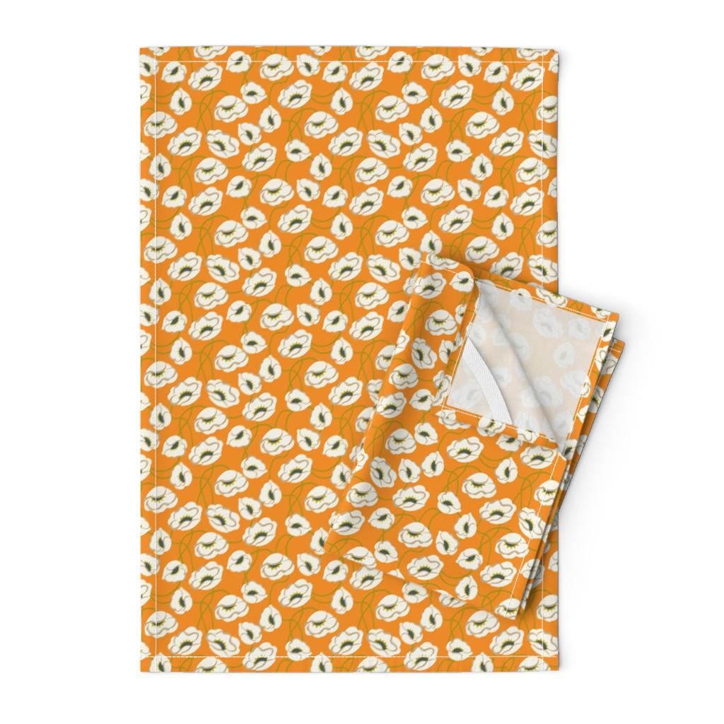 Orpington Tea Towels featuring Poppy Dance Tangerine medium by cindylindgren