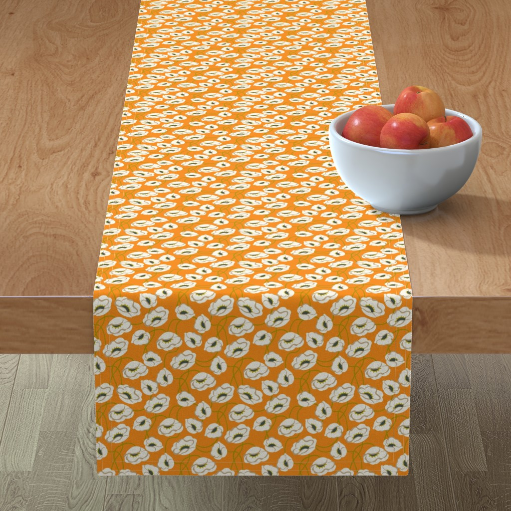 Minorca Table Runner featuring Poppy Dance Tangerine medium by cindylindgren