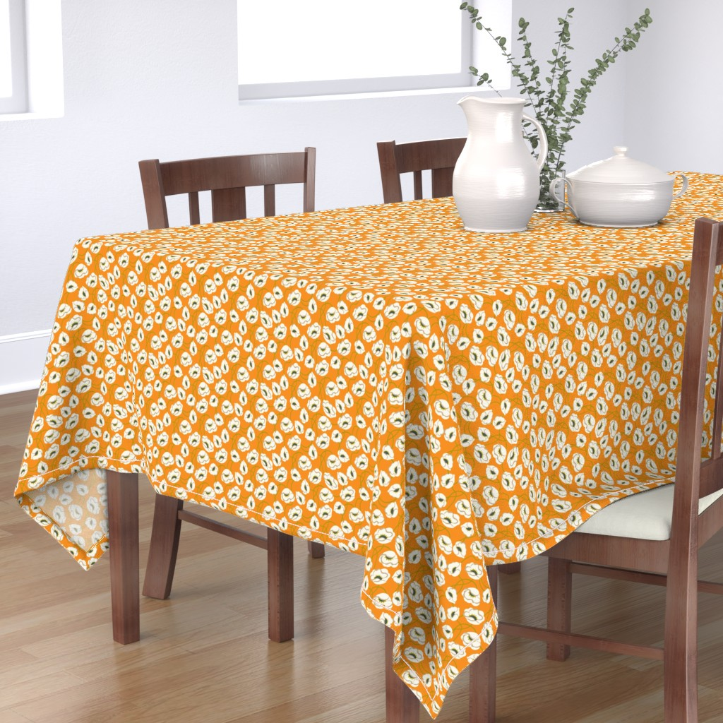 Bantam Rectangular Tablecloth featuring Poppy Dance Tangerine medium by cindylindgren