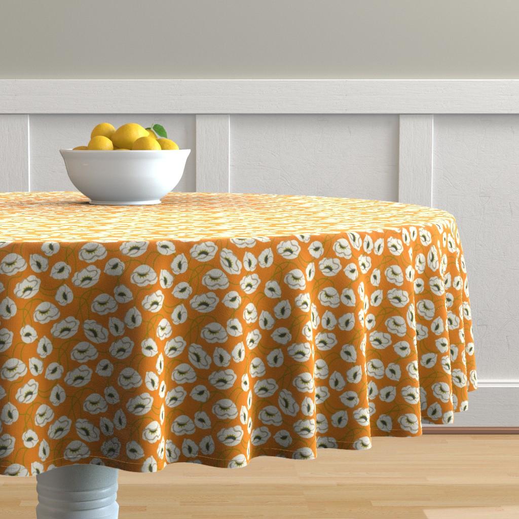 Malay Round Tablecloth featuring Poppy Dance Tangerine medium by cindylindgren