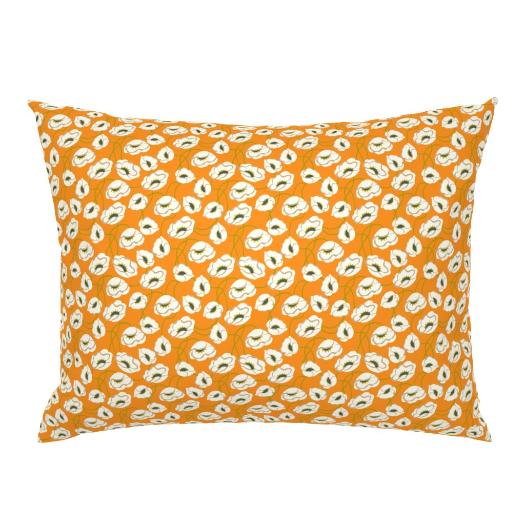 Campine Pillow Sham featuring Poppy Dance Tangerine medium by cindylindgren