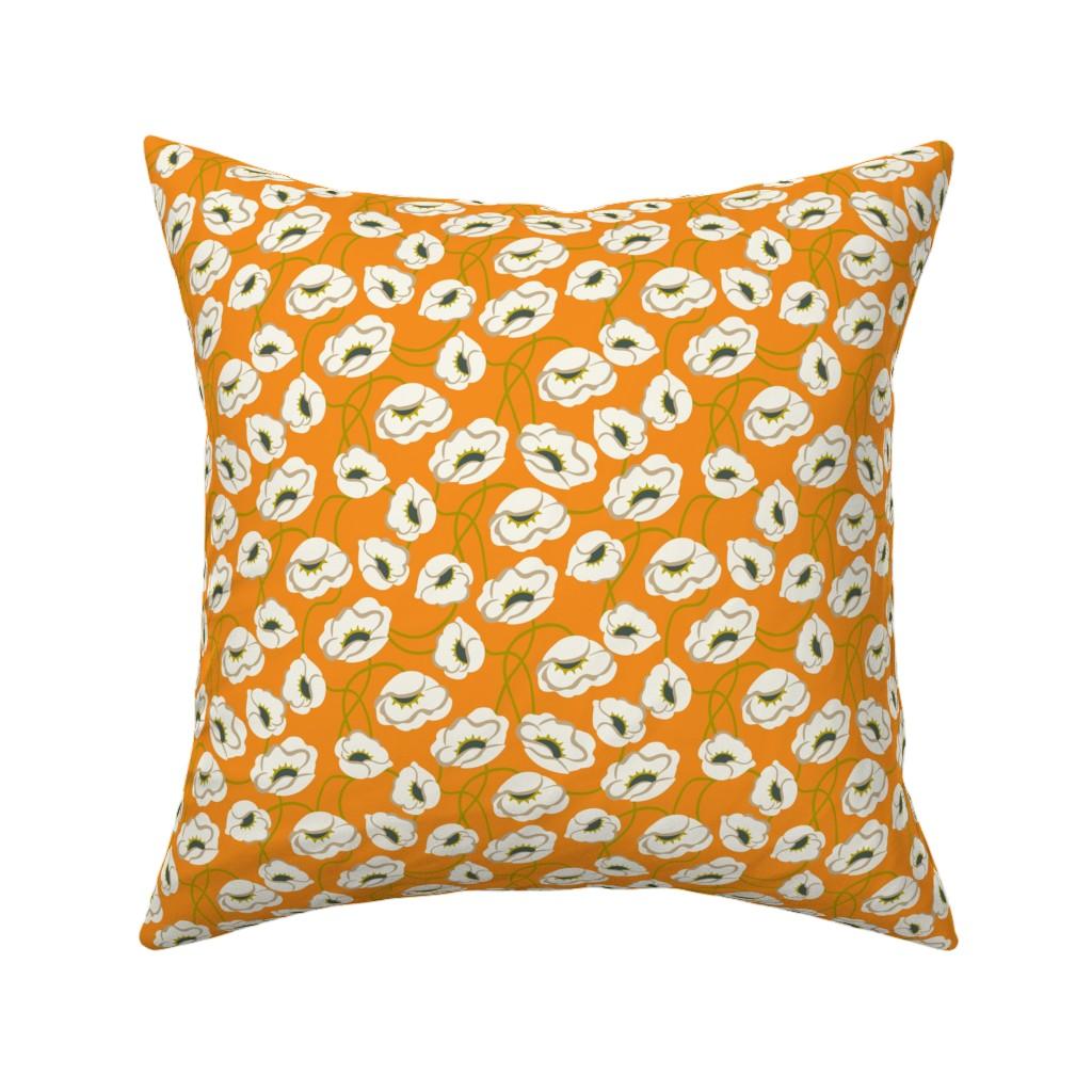 Catalan Throw Pillow featuring Poppy Dance Tangerine medium by cindylindgren