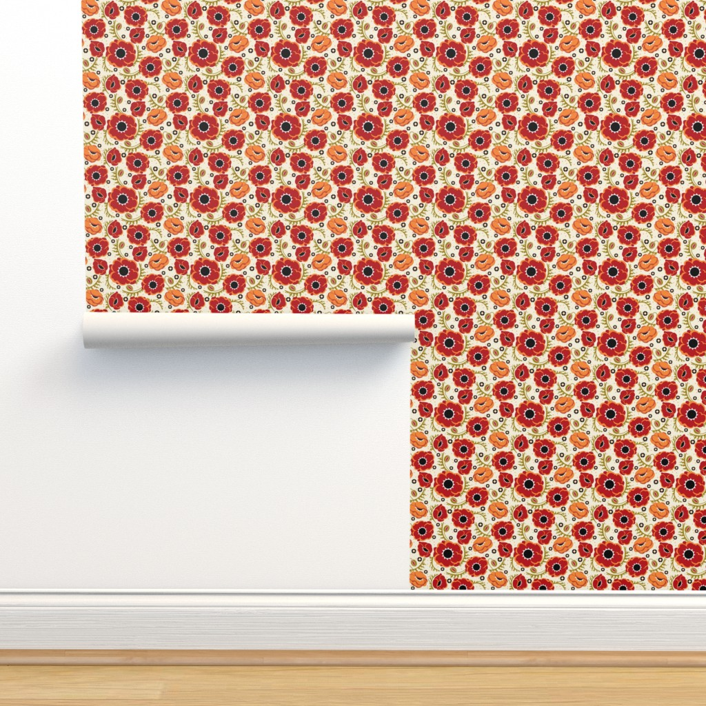 Isobar Durable Wallpaper featuring Poppy Hop in tan, medium by cindylindgren