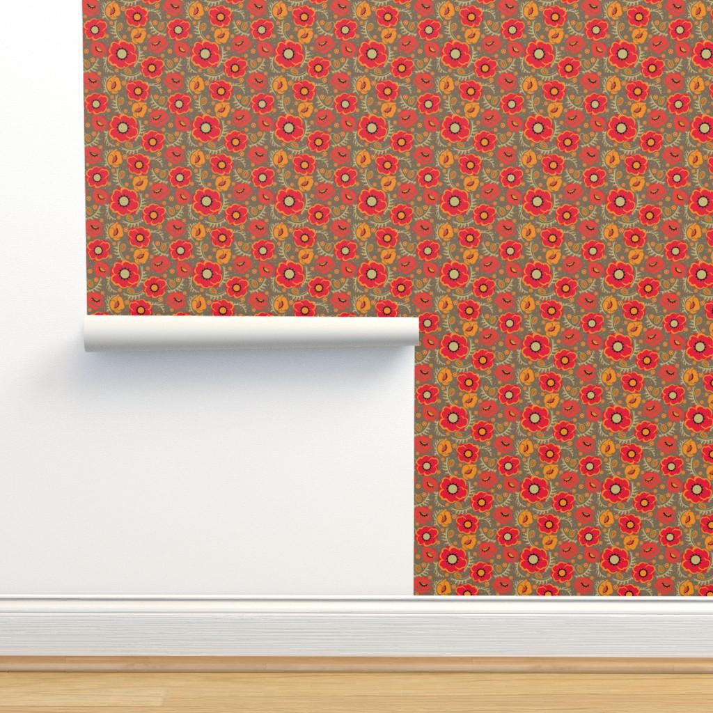 Isobar Durable Wallpaper featuring Poppy Hop in scarlet, medium by cindylindgren