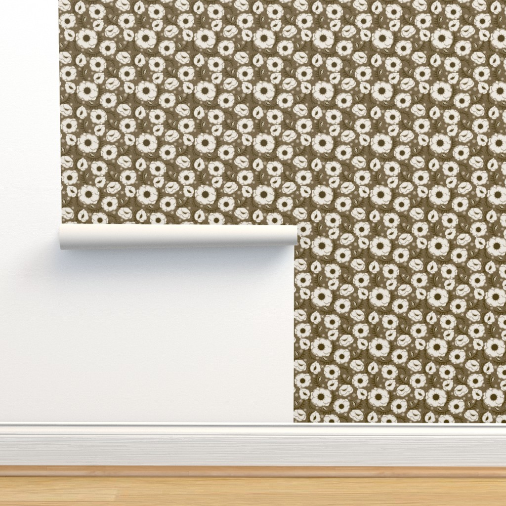 Isobar Durable Wallpaper featuring Poppy Hop in taupe, medium by cindylindgren