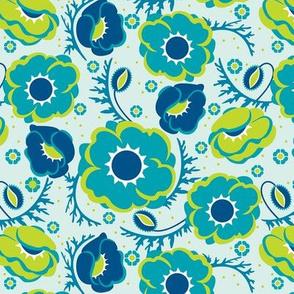 Poppy Hop in turquoise, medium