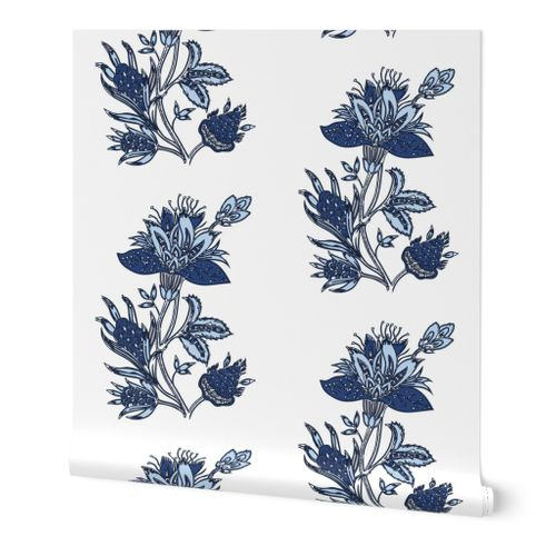 Removable Water-Activated Wallpaper Aztec Floral Flowers Feathers Mustard Blue