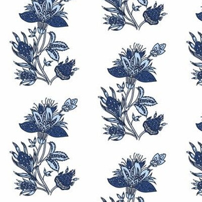 French floral blue french flower block print flowers