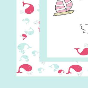quilt pink whale splash -  sea border adventures