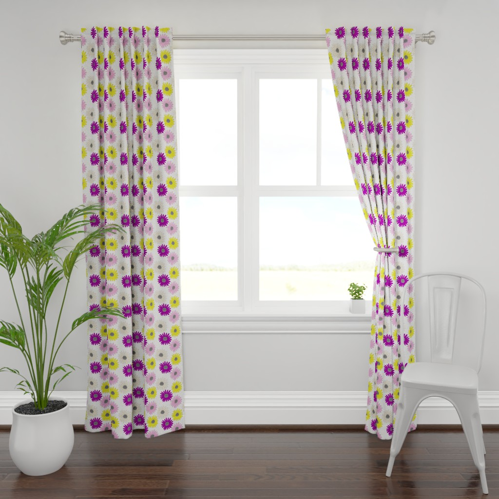 Plymouth Curtain Panel featuring Daisies  by ashandannstudio
