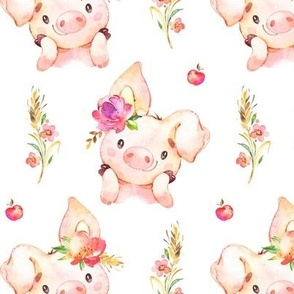 Miss Piglet - Baby Girl Pig with Flowers & Apples - LARGER Scale