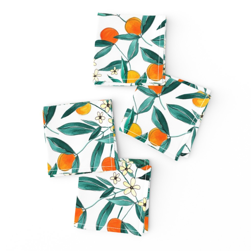 Frizzle Cocktail Napkins featuring Orange Summer (Smaller Repeat) by joy&ink