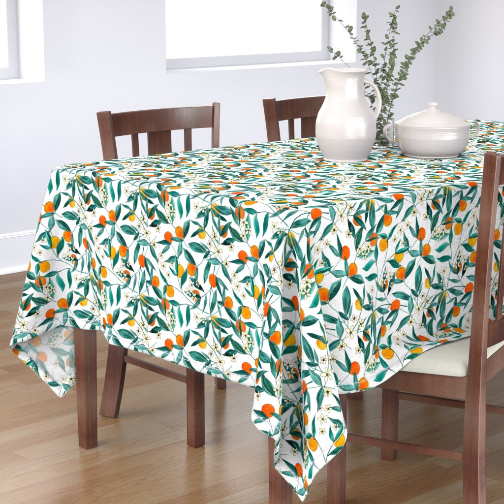 Bantam Rectangular Tablecloth featuring Orange Summer (Smaller Repeat) by joy&ink