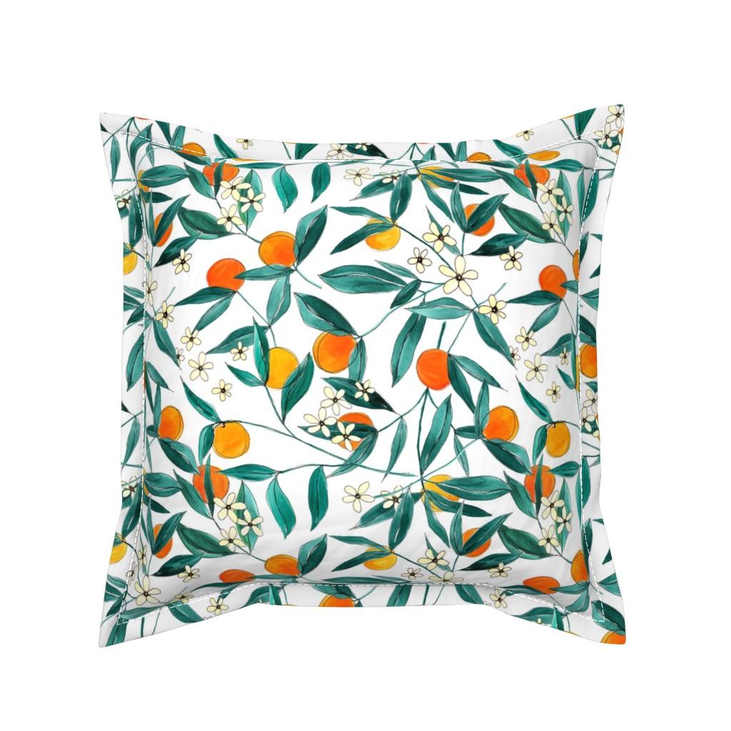 Serama Throw Pillow featuring Orange Summer (Smaller Repeat) by joy&ink