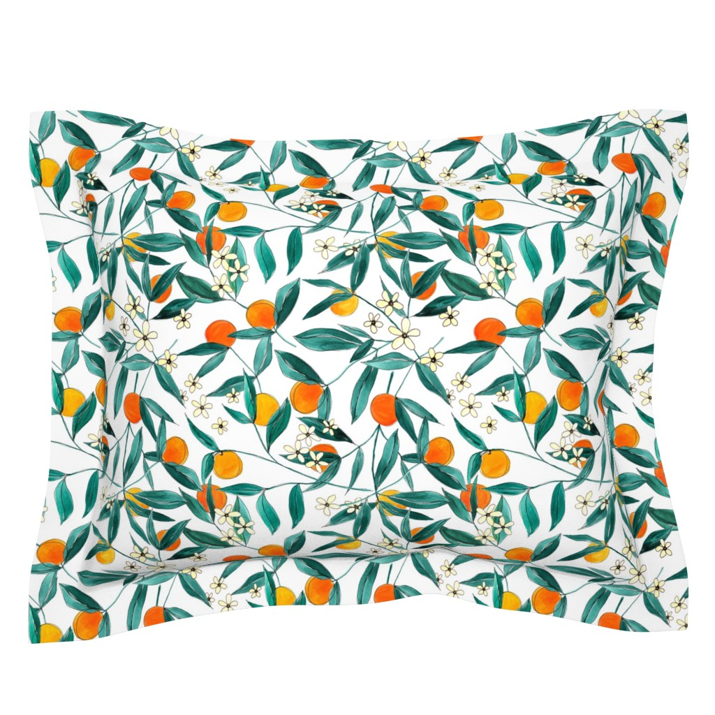 Sebright Pillow Sham featuring Orange Summer (Smaller Repeat) by joy&ink