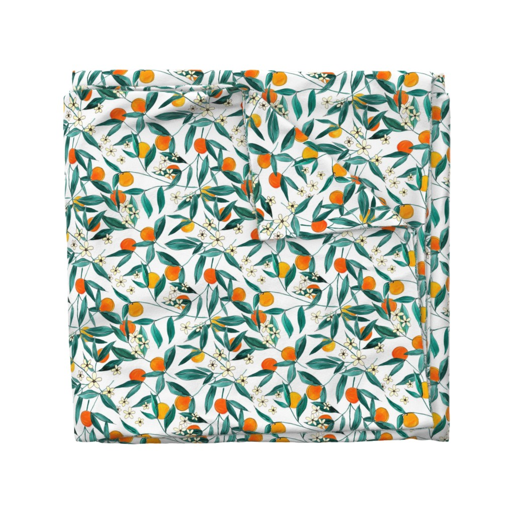 Wyandotte Duvet Cover featuring Orange Summer (Smaller Repeat) by joy&ink