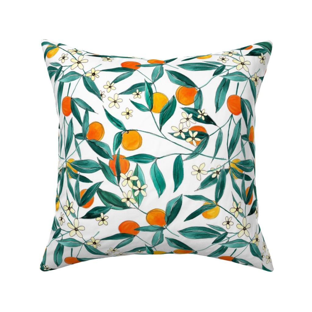 Catalan Throw Pillow featuring Orange Summer (Smaller Repeat) by joy&ink