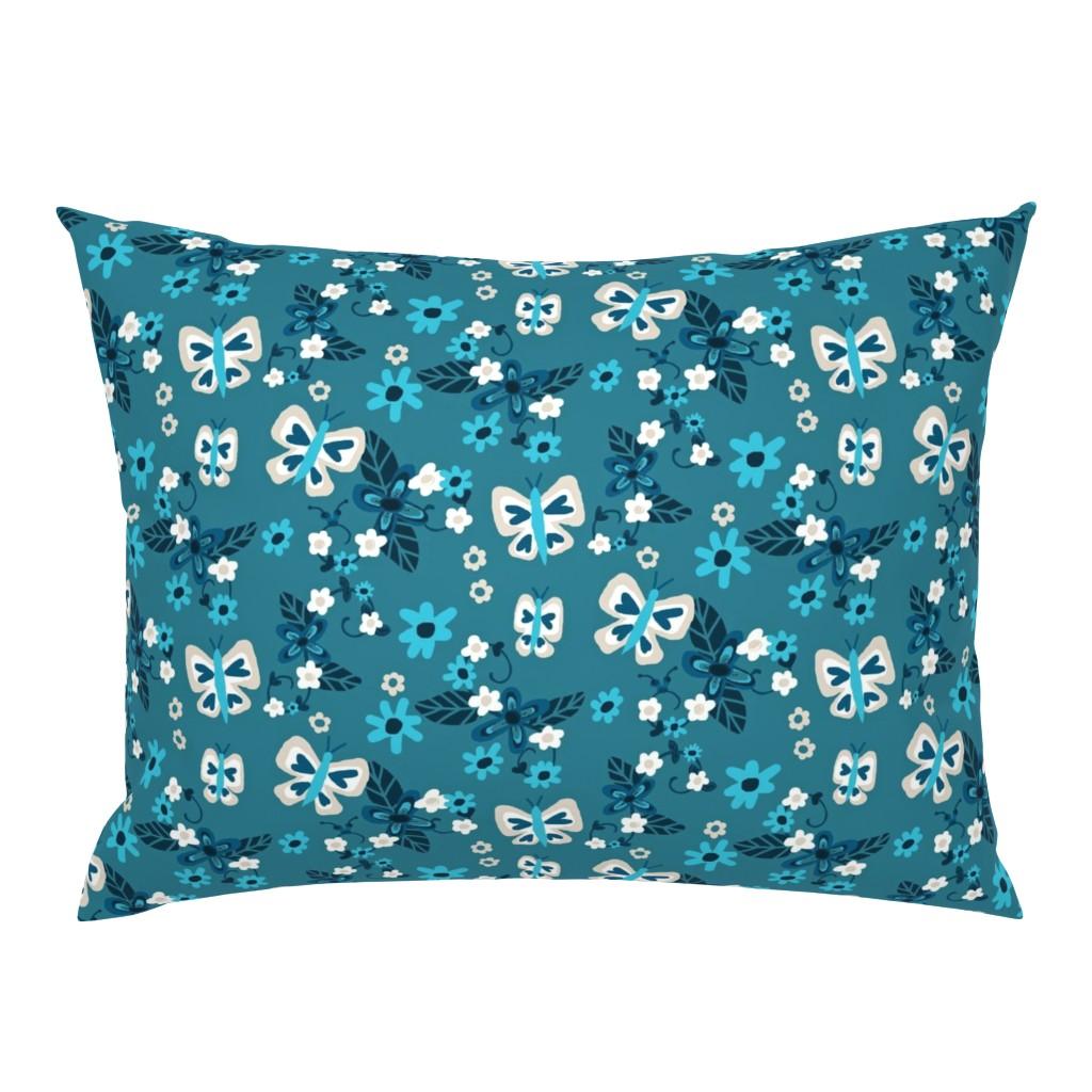 Campine Pillow Sham featuring Floral Flutterby Blues / Deep rich blues by franbail