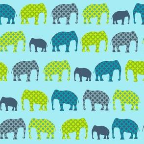 Urban Circus Elephants Blue