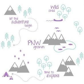 PNW Scene - Purple Mint Gray White