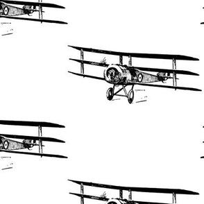 Antique Triplane Airplane Vintage Aviation Pattern (large version)
