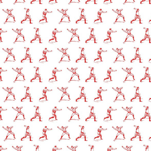 Red Vintage Baseball Players (small version)