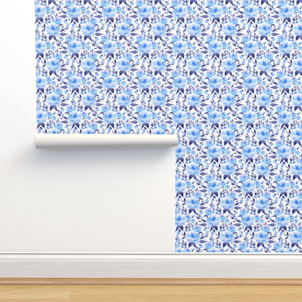 Isobar Durable Wallpaper featuring Watercolor blue flowers 2 by gribanessa