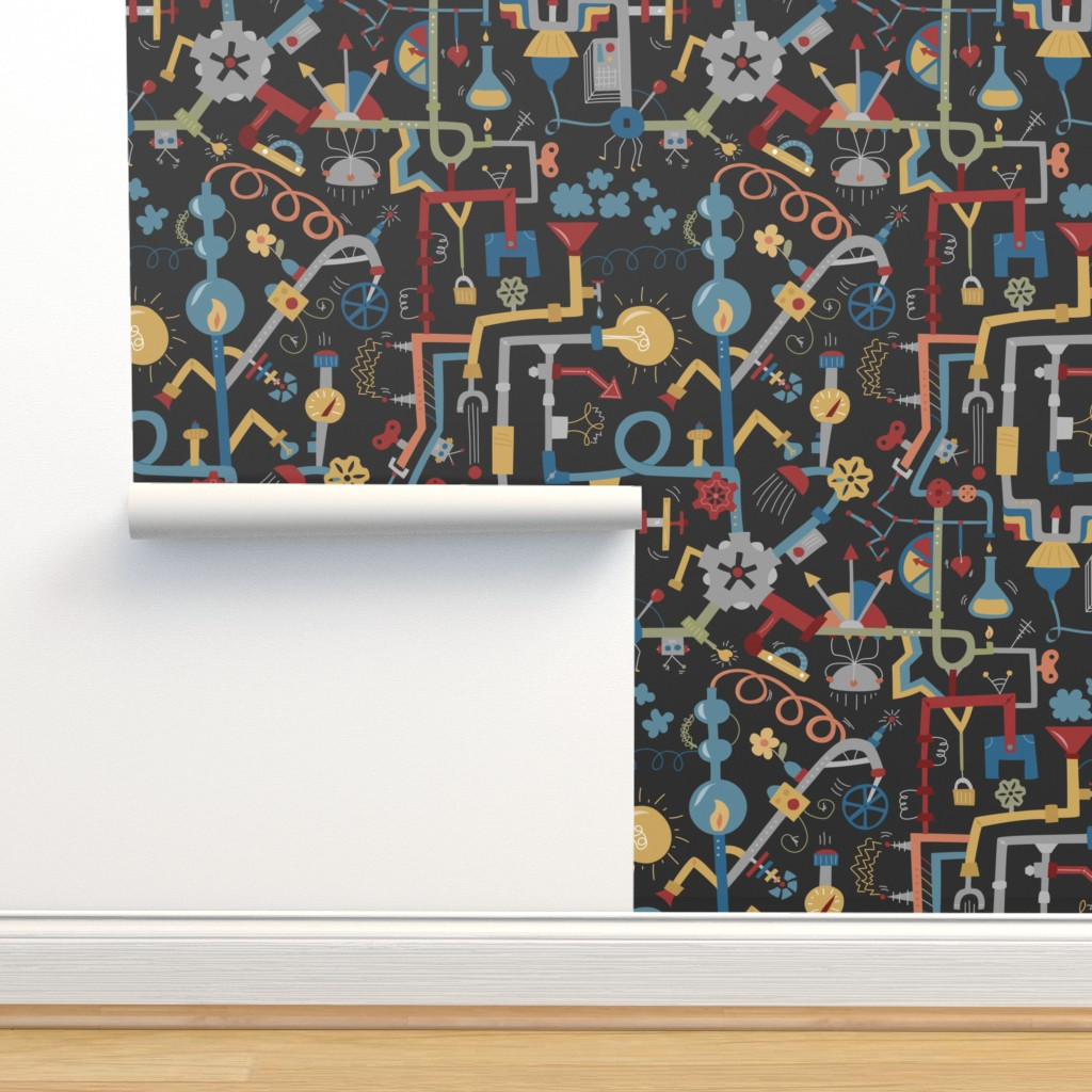 Isobar Durable Wallpaper featuring Pipe Dreams - Dark Primary by calobeedoodles
