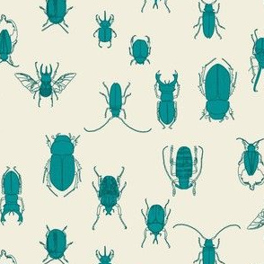 beetles in teal on natural (small scale)