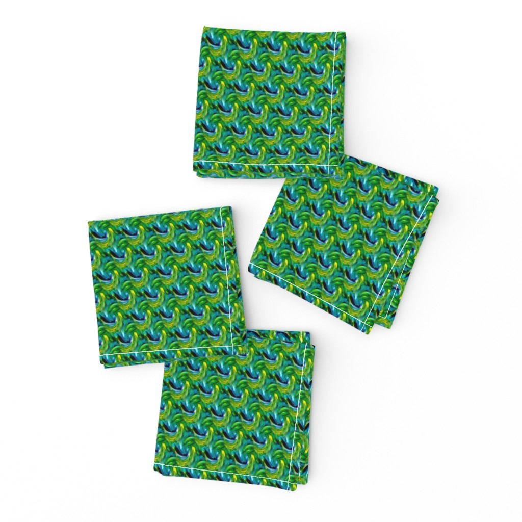 Frizzle Cocktail Napkins featuring Swirling Blue Greens - Small by atlas_&_tootsie