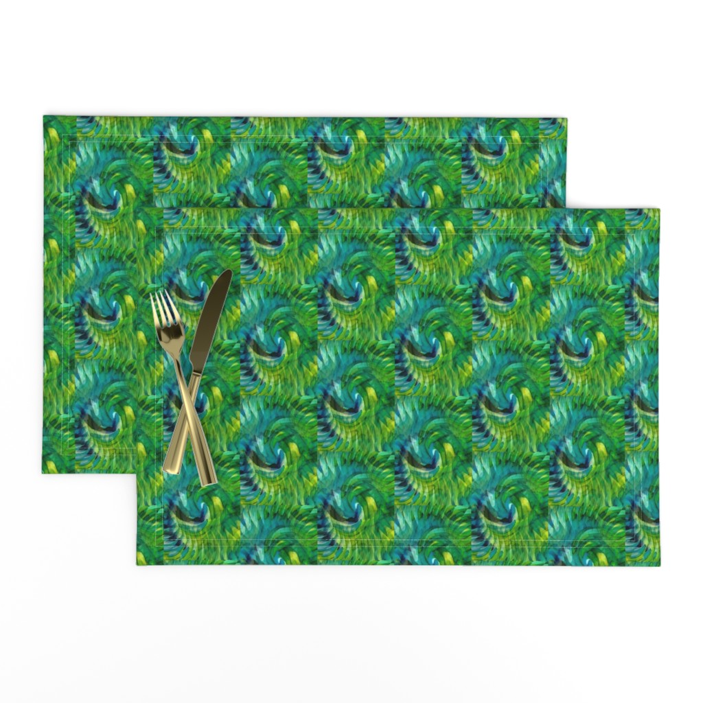 Lamona Cloth Placemats featuring Swirling Blue Greens - Medium by atlas_&_tootsie
