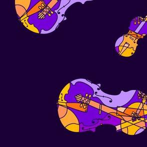 mosaic violins on dark purple (orange + purple f 4g XXX)