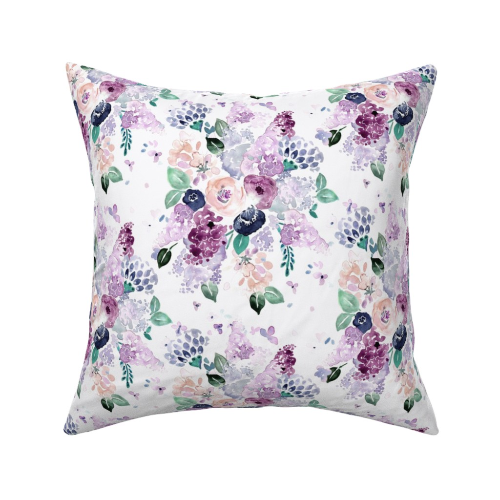 Catalan Throw Pillow featuring lilac-lavender-romance bouquet by crystal_walen