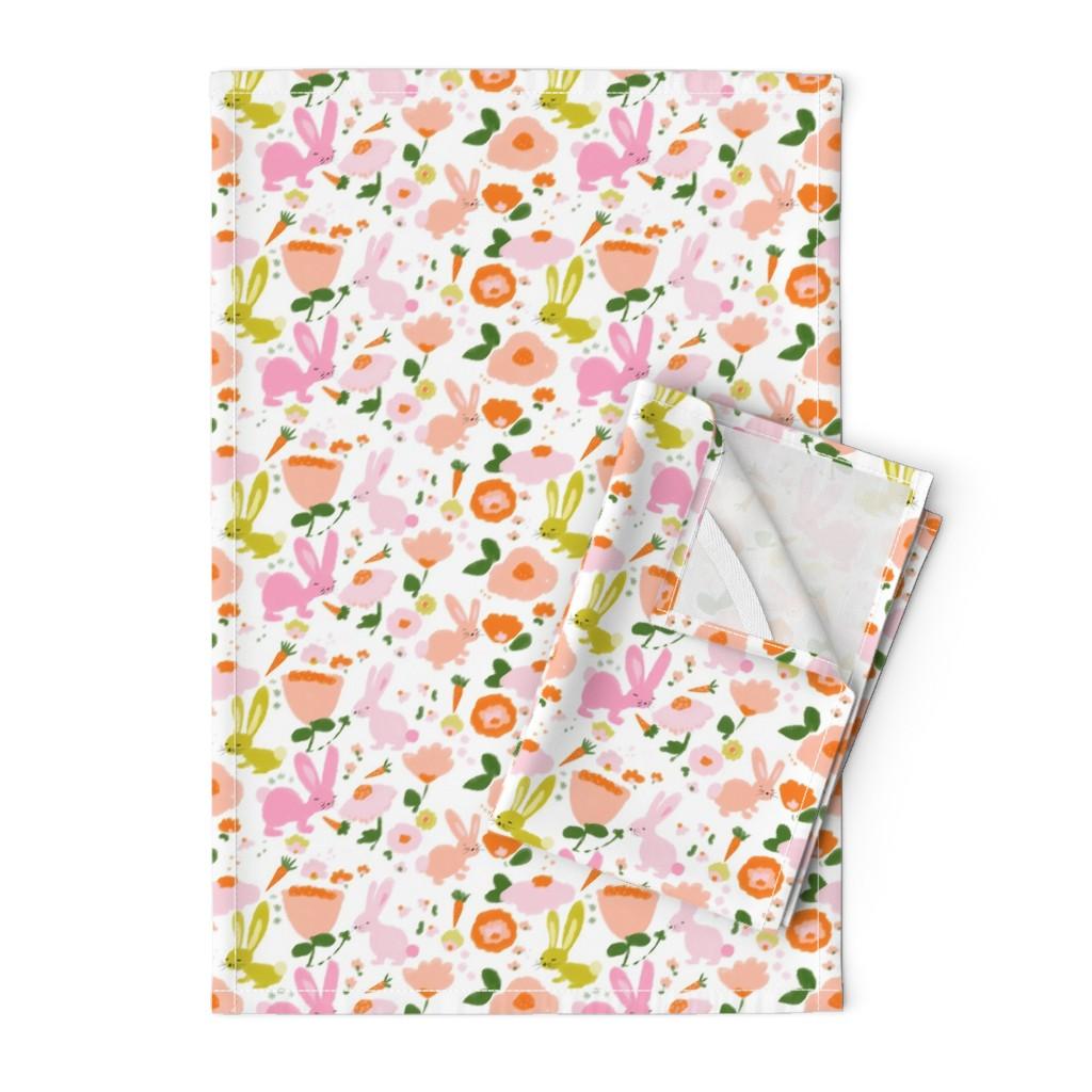 Orpington Tea Towels featuring spring bunnies by alison_janssen