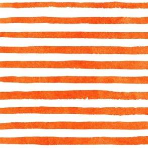 Watercolor Orange and White Stripes