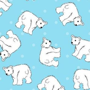 Polar Bears On Blue