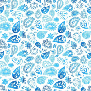 paisley watercolor blue