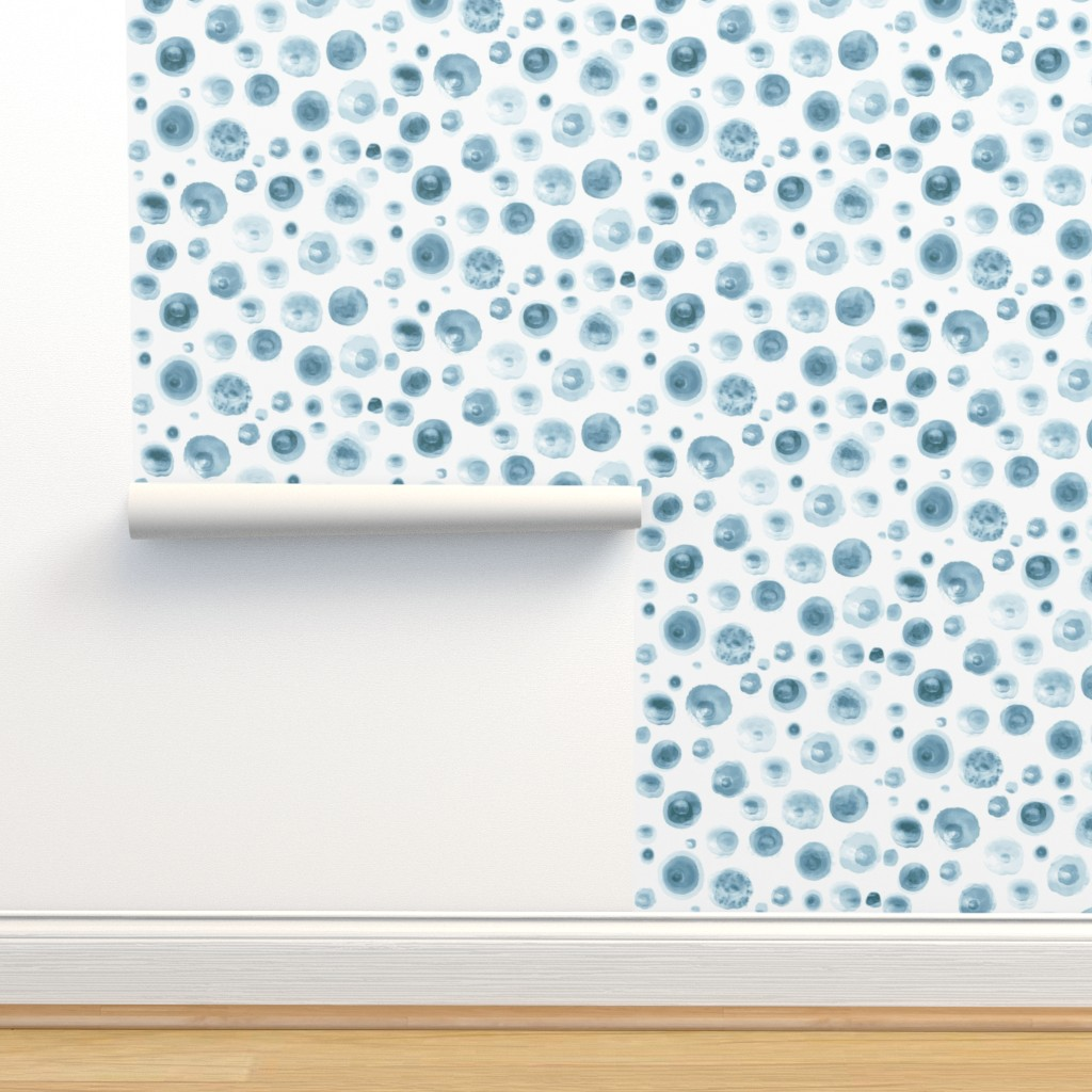 Isobar Durable Wallpaper featuring All Blue Watercolor Dots  by mlags