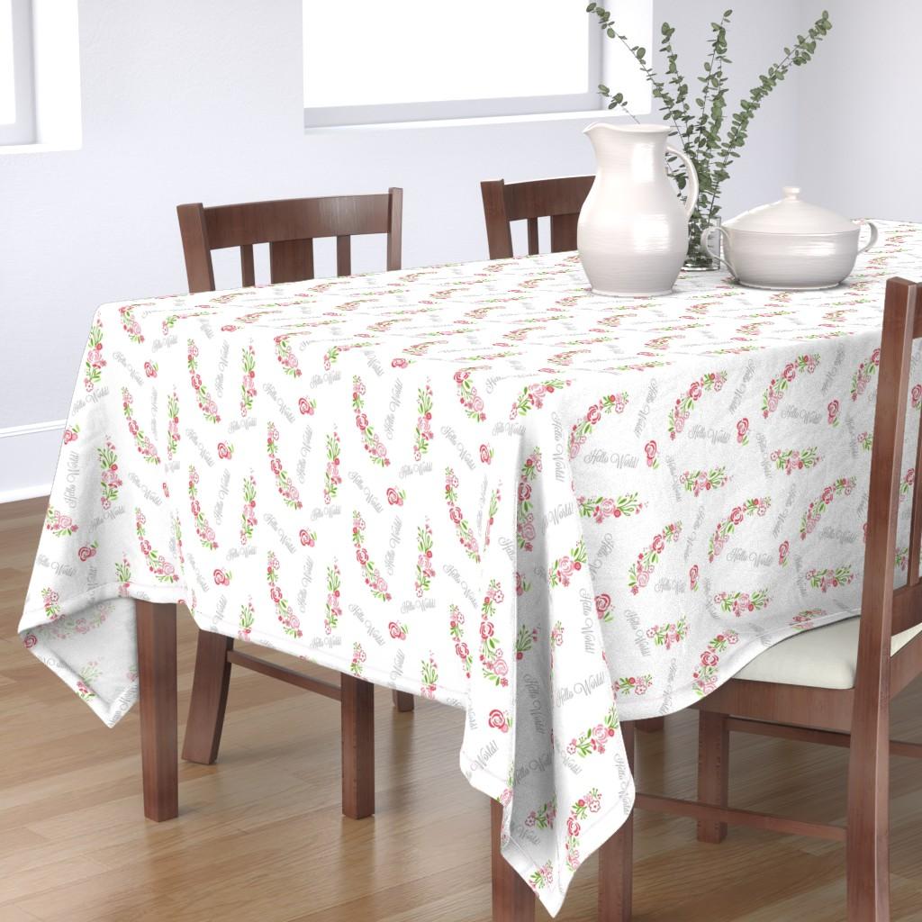 Bantam Rectangular Tablecloth featuring hello world shabby chic rose bliss 7 -petal by drapestudio