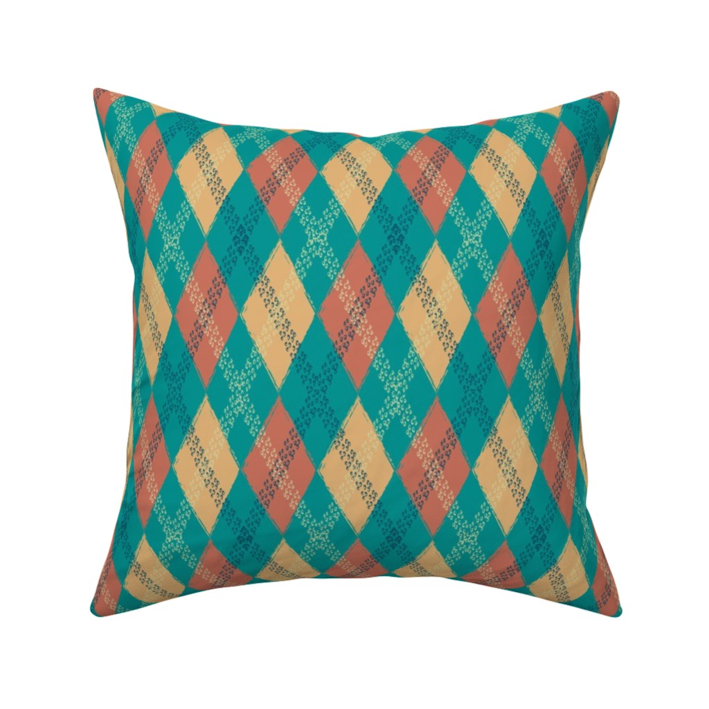Catalan Throw Pillow featuring Rusty Bike Tire track Argyle by krystalsavage