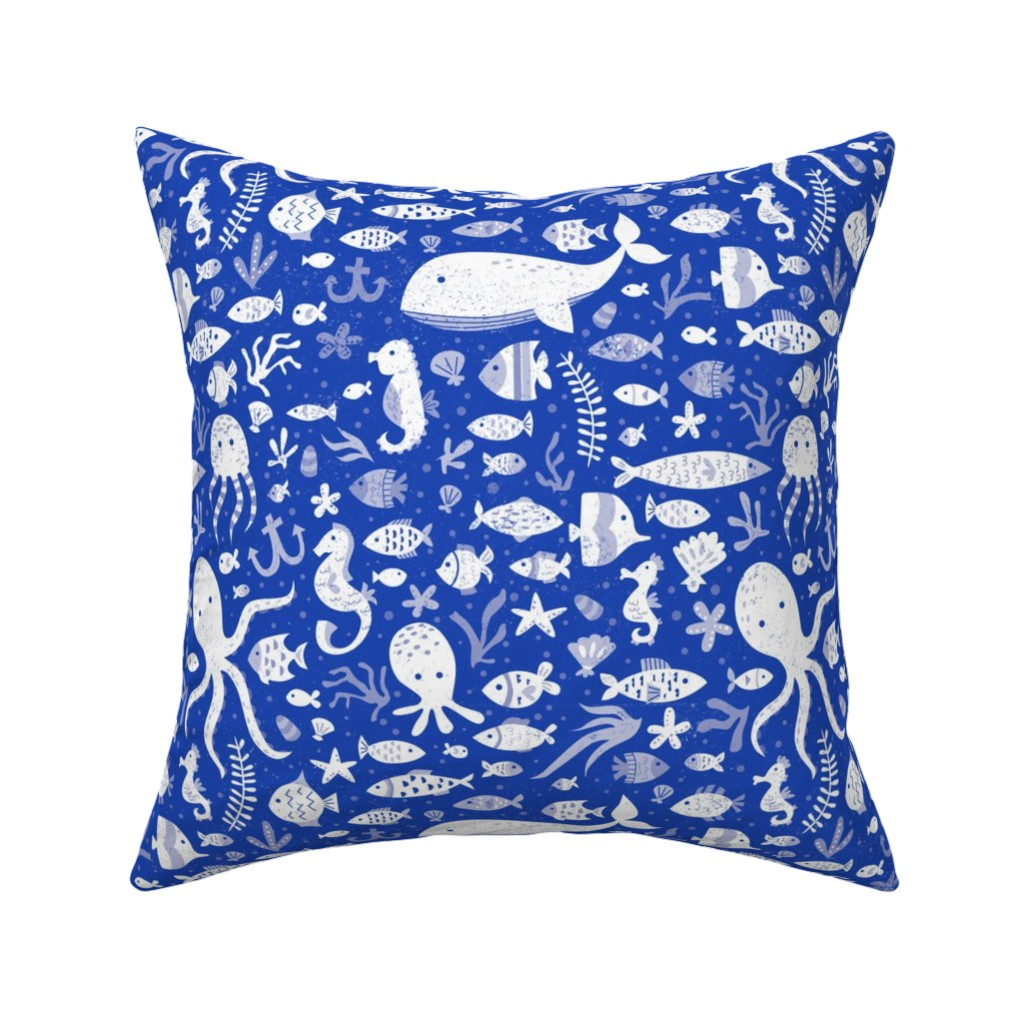 Catalan Throw Pillow featuring Under Water Sea Life in Cobalt Blue by latheandquill