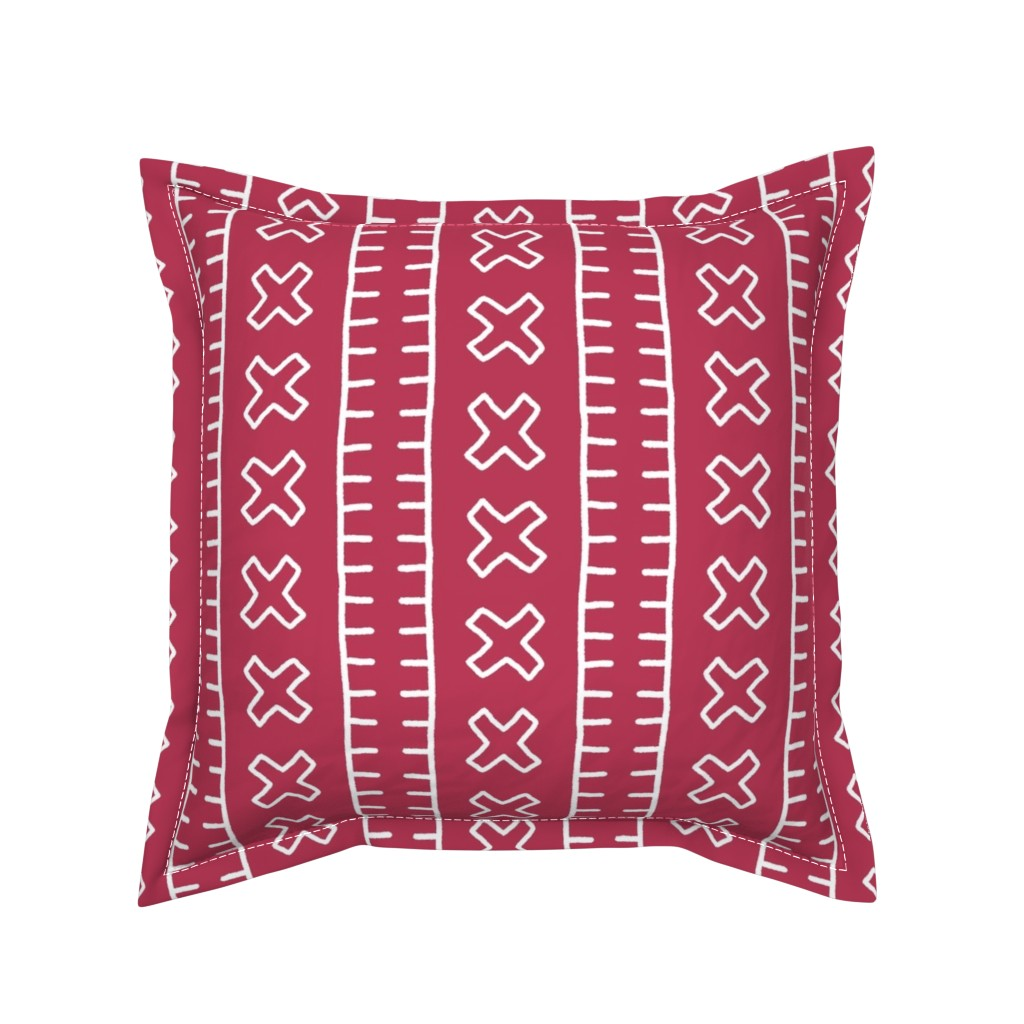 Serama Throw Pillow featuring African Mud Cloth // Magenta // Large by thinlinetextiles